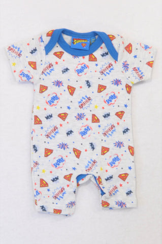 Superman Grey Blue Trim Comic Sounds Romper Unisex Tiny Baby