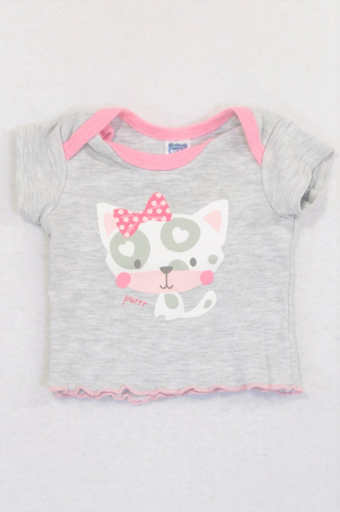 Ackermans Grey Pink Trim Purr Kitty T-shirt Boys N-B