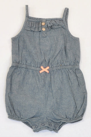 Carter's Chambray Frill Pink Bow Romper Girls 12-18 months