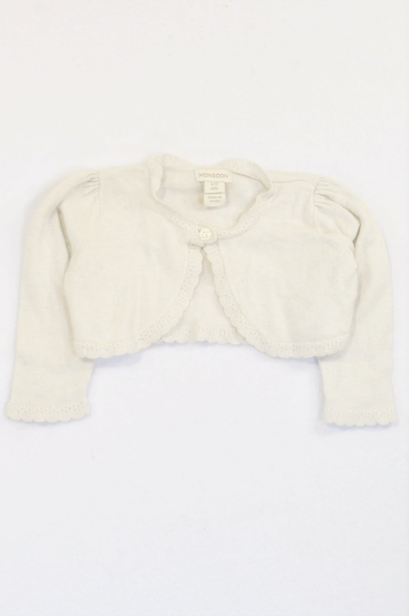 Monsoon White One Button Scalloped Cardigan Girls 6-12 months