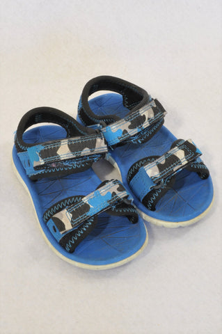 Clarks Size 4.5 Camo Blue & black Strap Sandals Boys 12-18 months