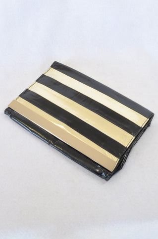 Unbranded Black & Gold Stripe Pleather Clutch Handbag Women