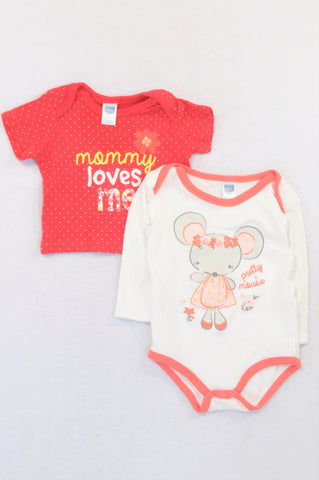 Ackermans 2 Pack Red Mommy T-Shirt & Pretty Mouse Baby Grow Girls 3-6 months