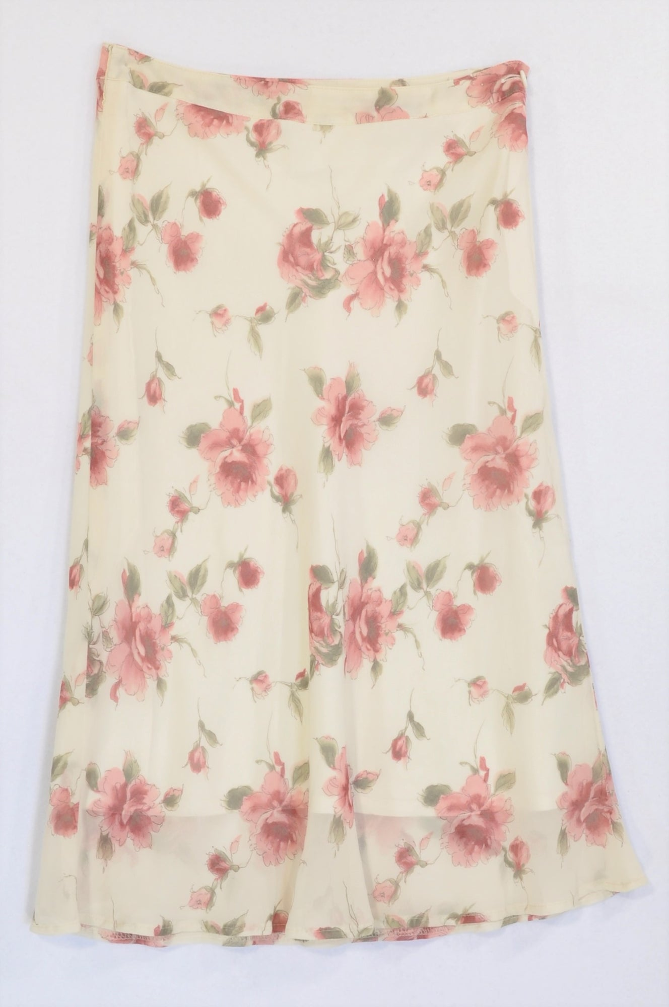 Unbranded Ivory Watercolour Rose Chiffon Skirt Women Size 6