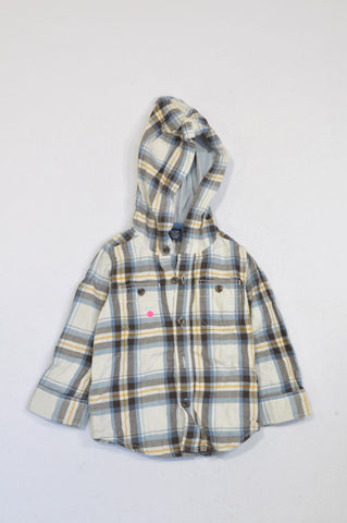 GAP Lined Blue Plaid Hooded Shirt Boys 12-18 months