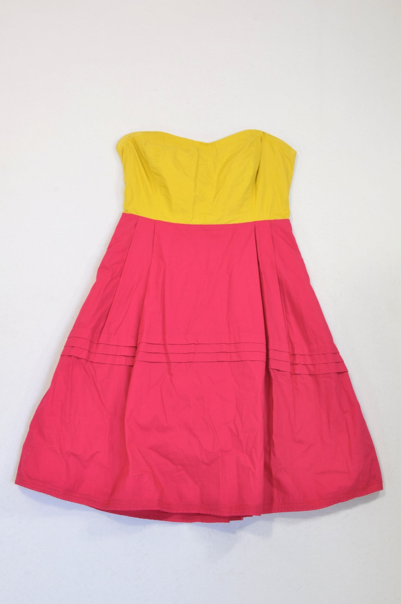 Maeve Kiwi Cerise Panelled Strapless A-Line Cocktail Dress Women Size 10
