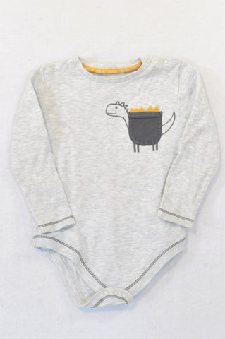 F&F Grey Dino Pocket Baby Grow Boys 18-24 months