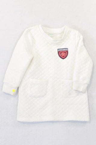 Naartjie White Quilted Winter Dress Girls 6-12 months