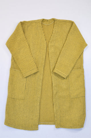Unbranded Yellow Check Flannel Open Coat Women Size 12