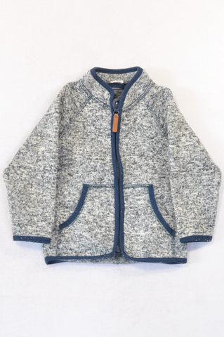 Next Navy & White Heathered Zipper Jacket Boys 12-18 months