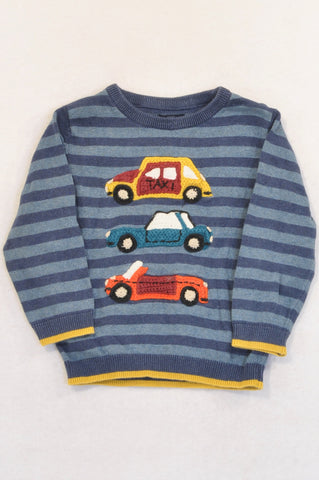 Next Navy Stripe Knit Cars Jersey Boys 18-24 months