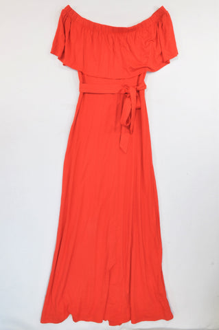 Marks & Spencers Red Off Shoulder Frill Overlay Maxi Dress Women Size 8