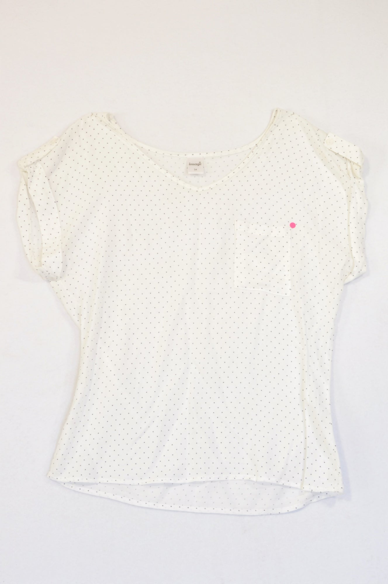 Image White Navy Dot Pocket Blouse Women Size 34
