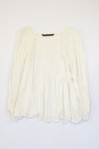 Zara White Embroidered Ruched Bodice Crepe Blouse Women Size M