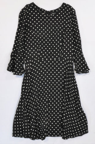 New Look Black & White Dotty Frill Demi Sleeve Dress Women Size 6/8
