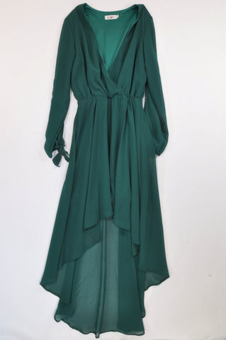 Icon Hunter Green Tie Sleeve High Low Dress Women Size S