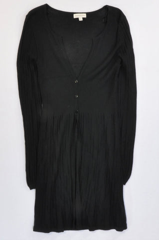 Monsoon Black Light Knit Ribbed Longer Length Wool Cardigan Women Size S