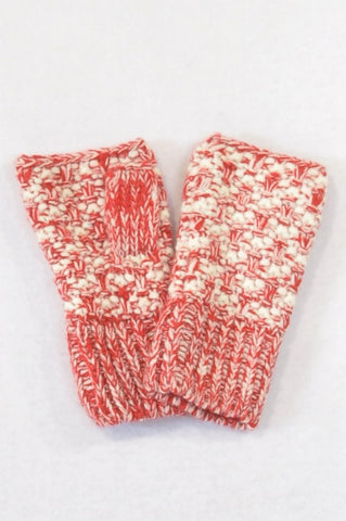 Unbranded Red & Ivory Knit Fingerless Gloves Women
