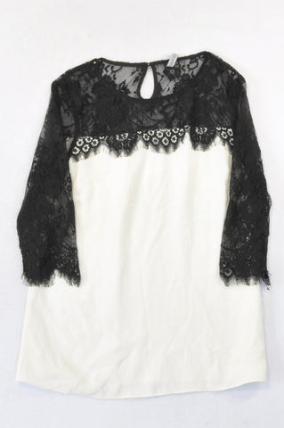 Forever New Ivory Sheer Black Lace Bodice Blouse Women Size 10