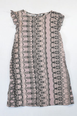 Woolworths Pink & Black Paisley Dress Women Size 14