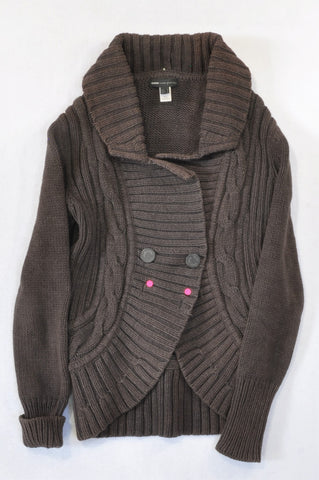Mango Brown Cable Knit Jersey Women Size S