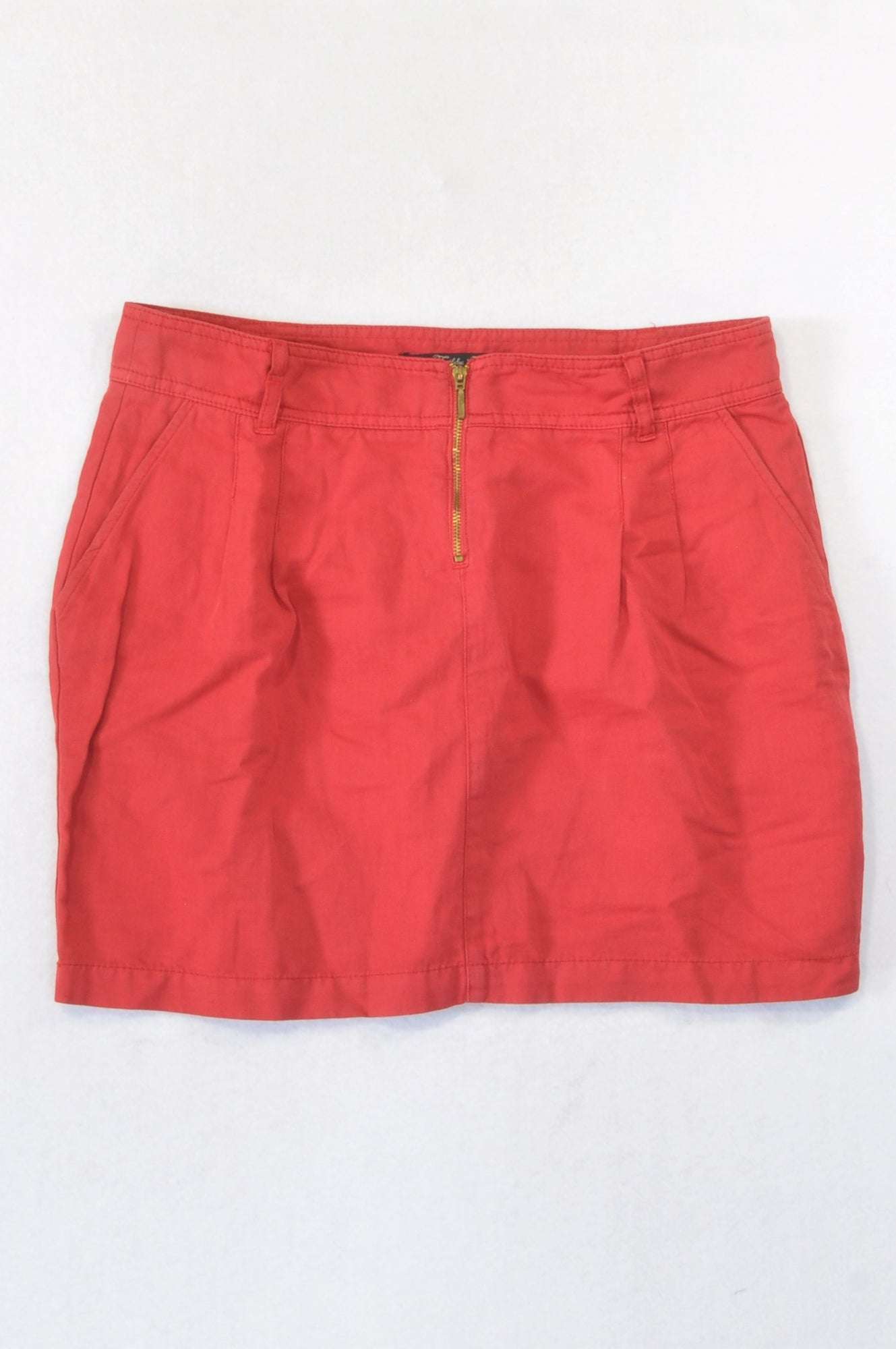 Zara Red Denim Zipper Skirt Women Size 12