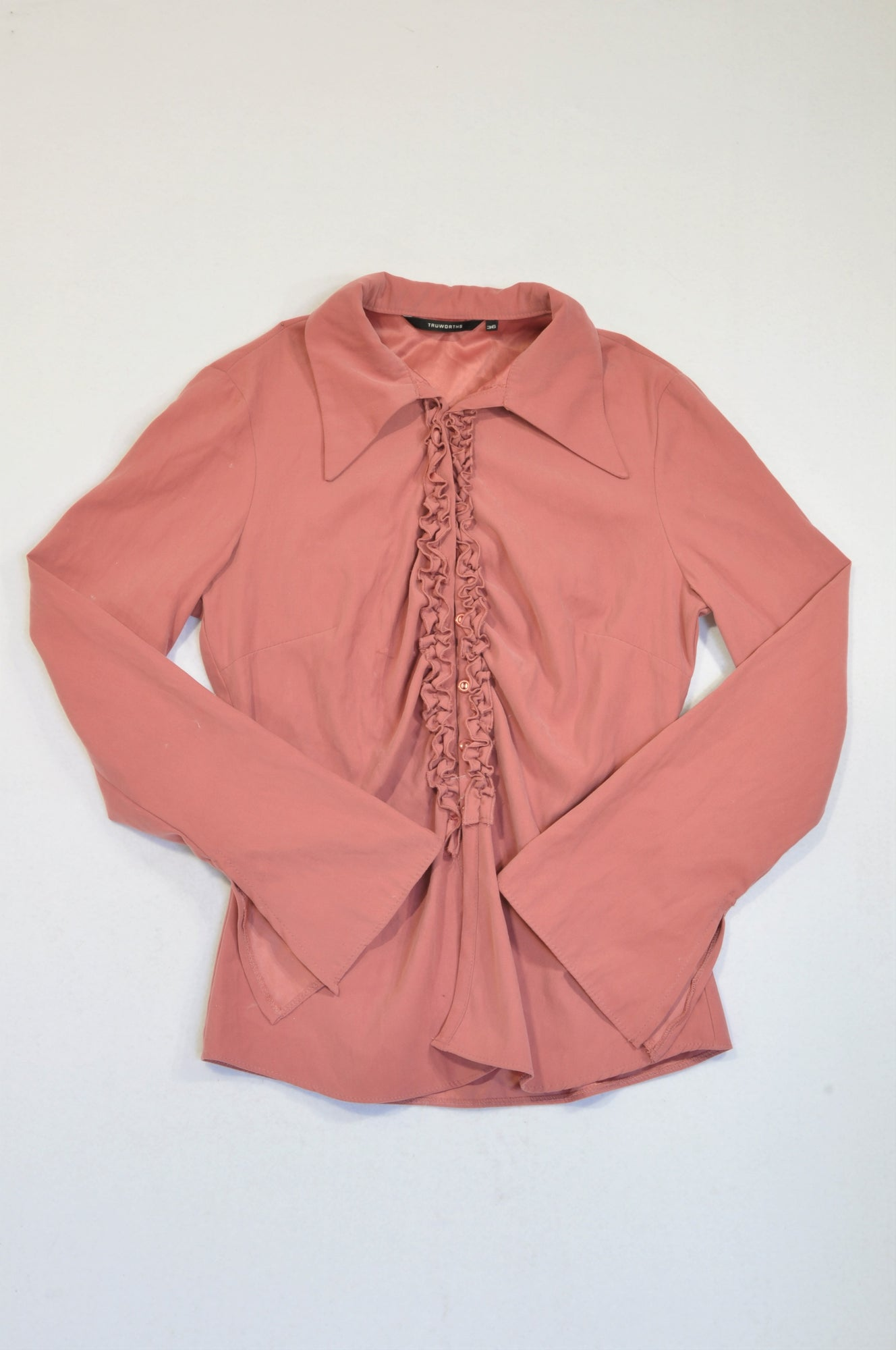 Truworths Dusty Pink Suede Feel Ruffle Detail Blouse Women Size 36