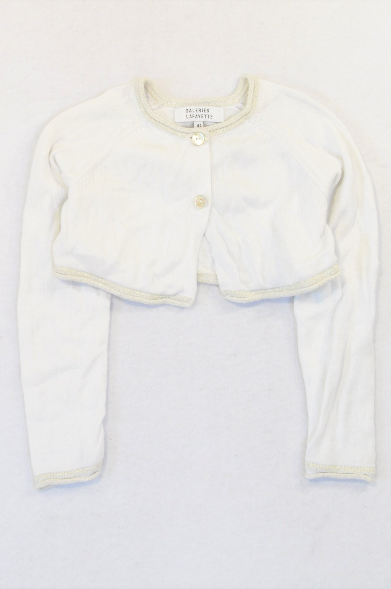 Galeries Lafayette White Knit Gold Trim Cropped Cardigan Girls 3-4 years