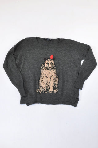 French Connection Grey Knit Bear Jersey Women Size M