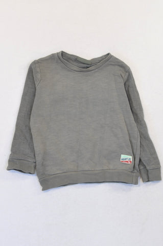 Naartjie Grey Faded Logo Pull Over Top Unisex 18-24 months