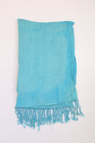Unbranded Light Blue Tie Dye Tassle Scarf Women