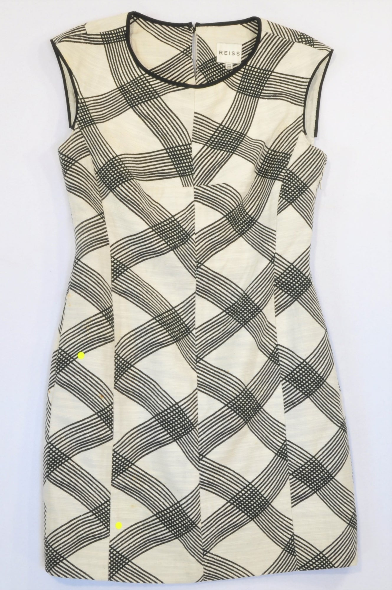 Oasis Ivory Textured Geometric Black Detail Dress Women Size 10
