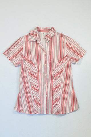 Unbranded Red Thin Pinstripe Button Blouse Women Size 36
