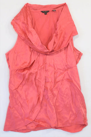 Ted Baker Pink Ruffle Neck Blouse Women Size 6
