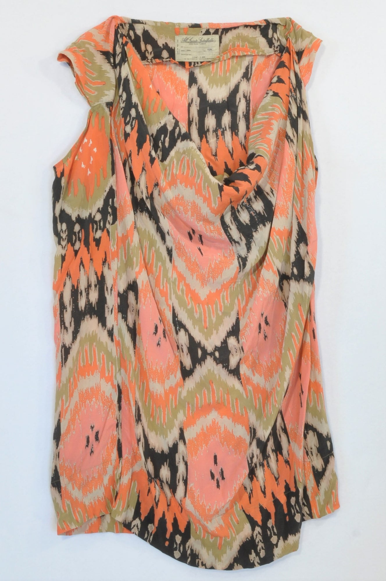 All Saints Orange & Beige Lightweight Tunic Blouse Women Size 10