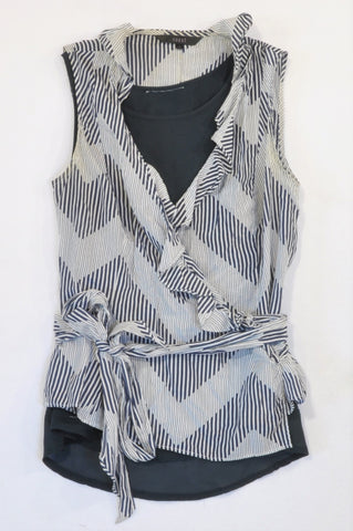 Coast White & Navy Tie Lightweight Ruffle Blouse Women Size 10