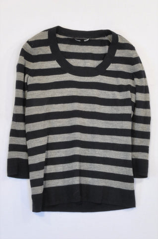 Jaeger Navy & Grey Stripe 3/4 Sleeve Jersey Women Size M