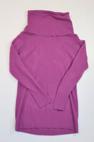 Woolworths Purple Ribbed High Neck Jersey Women Size L