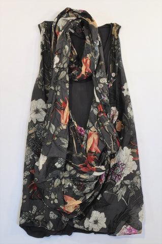All Saints Black & Sheer Floral Wrap Infinity Blouse Women Size 10