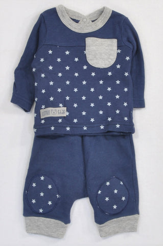Woolworths Navy & Grey Star T-Shirt & Pants Outfit Boys 0-3 months