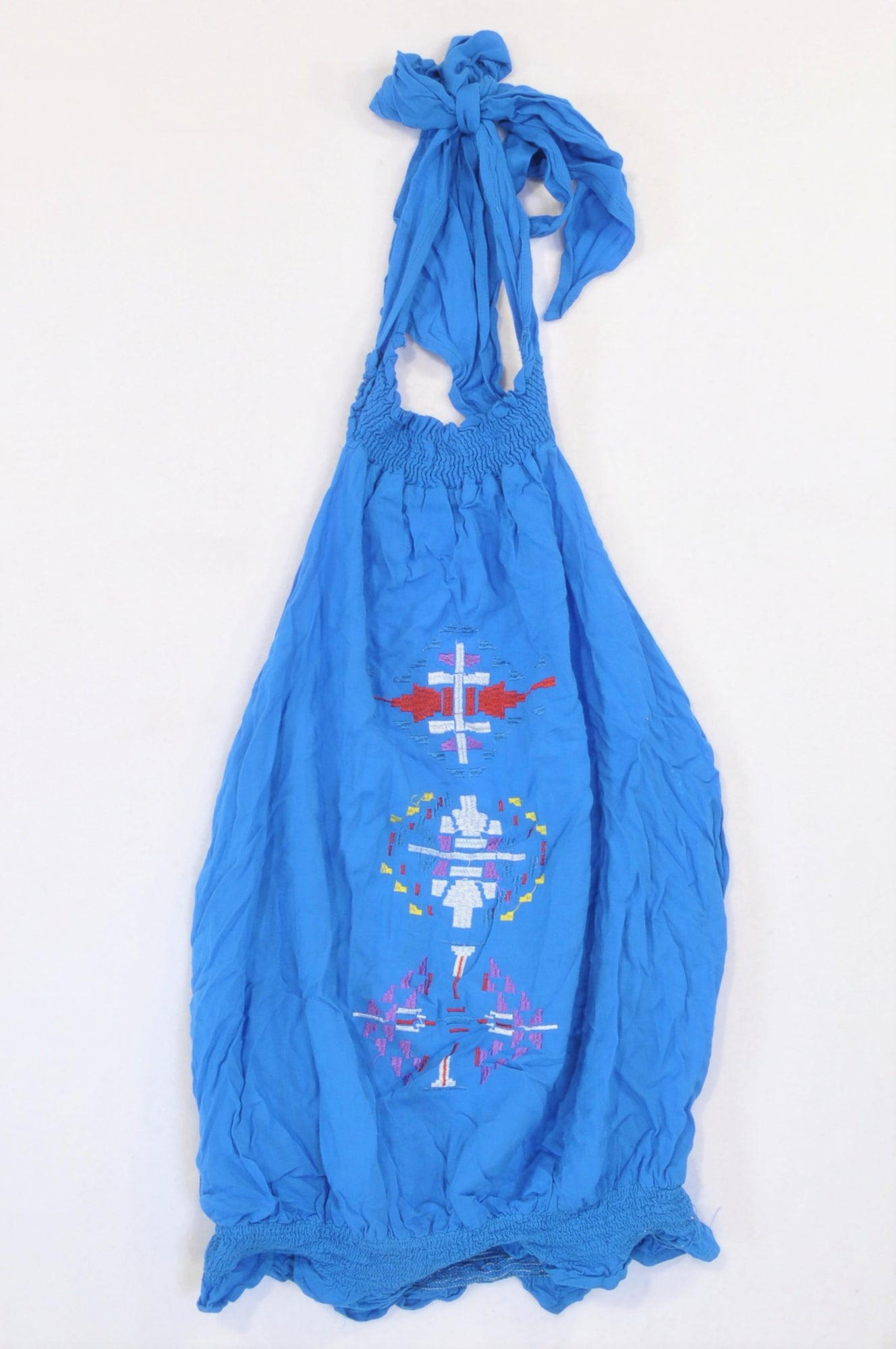Mr. Price Blue Tribal Embroidery Halter Blouse Women Size XS