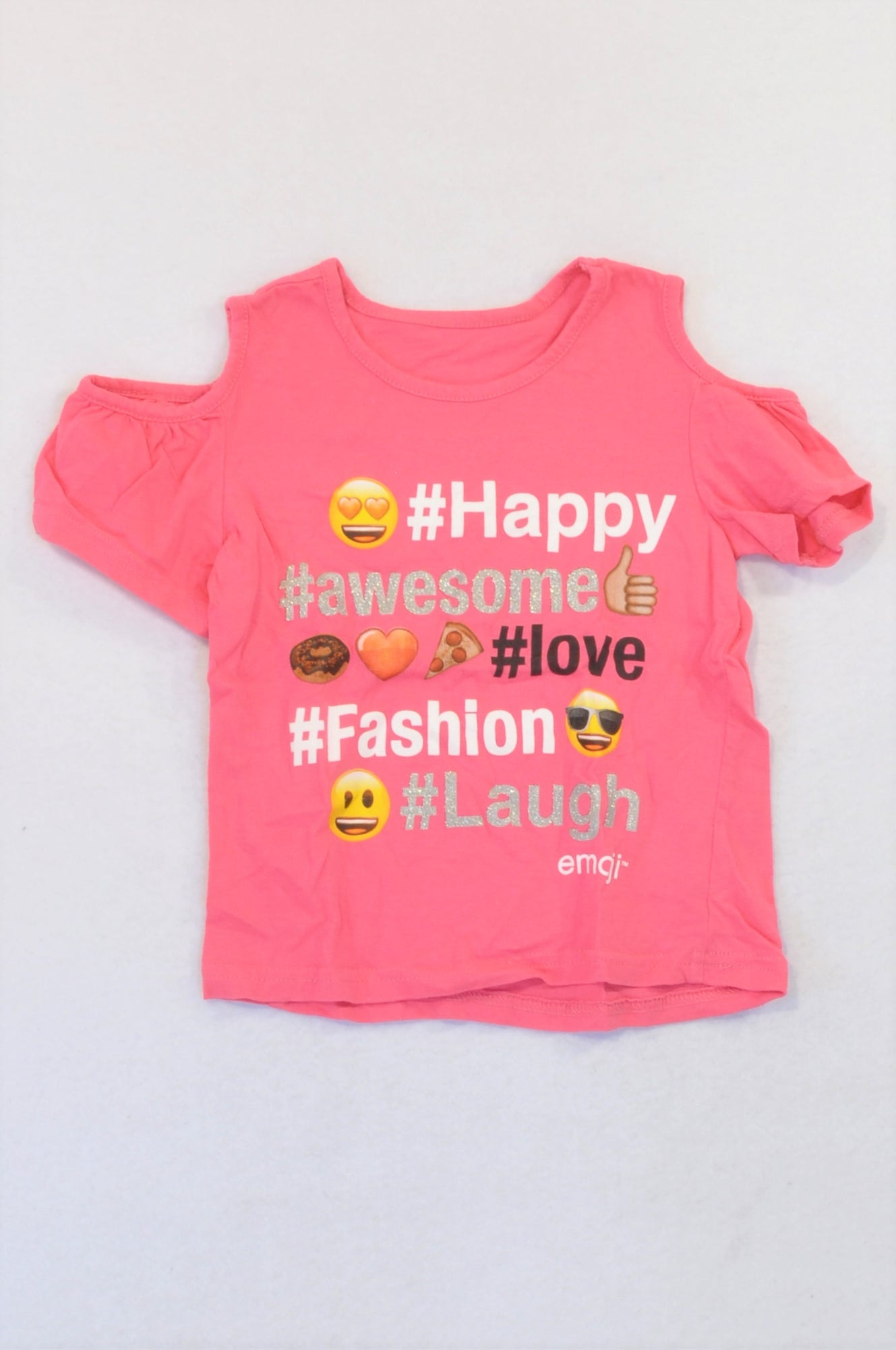 Emoji Pink Hashtag Smiley T-shirt Girls 3-4 years