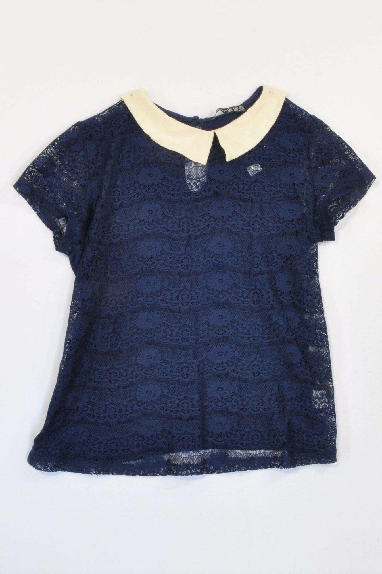 Atmosphere Navy Lace Overlay Peter Pan T-shirt Women Size 8
