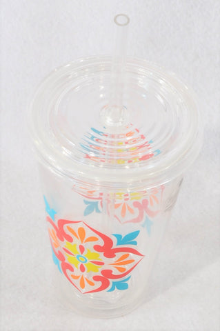 New Woolworths Red Flower Plastic Water Cup Unisex 6+ years