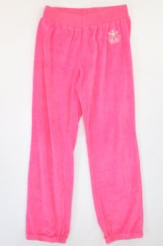 New Wave Pink Velour Track Pants Women Size XS