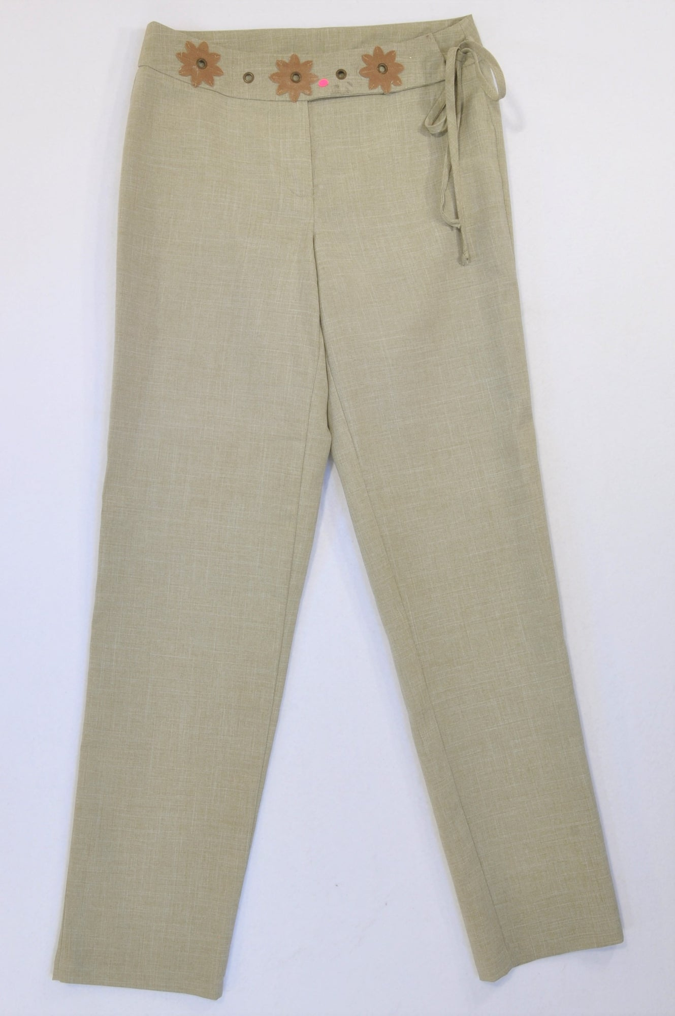 Free Clothing Olive Lightweight Flower Belted Office Pants Women Size 10