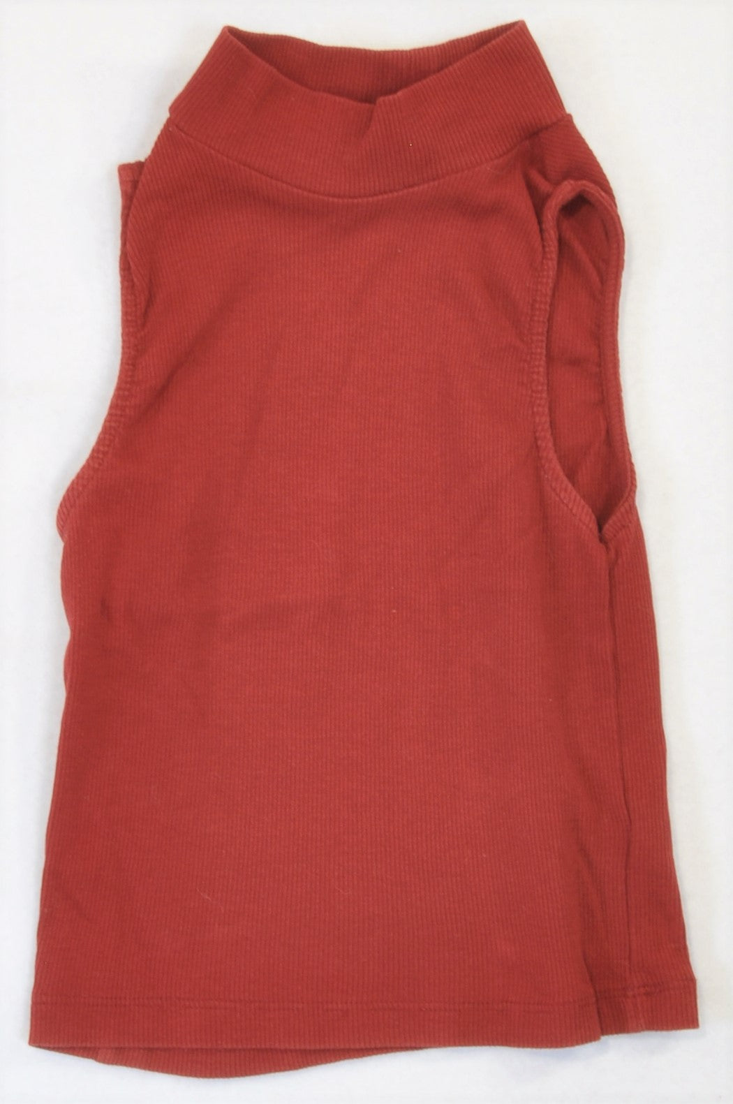 H&M Rust Ribbed Mock Neck Tank Top Women Size XS