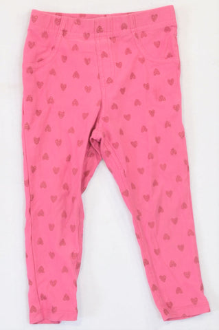 Woolworths Pink Glitter Heart Leggings Girls 2-3 years