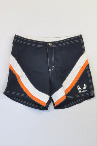 Badgirl Blue & Orange Swim Shorts Women Size M