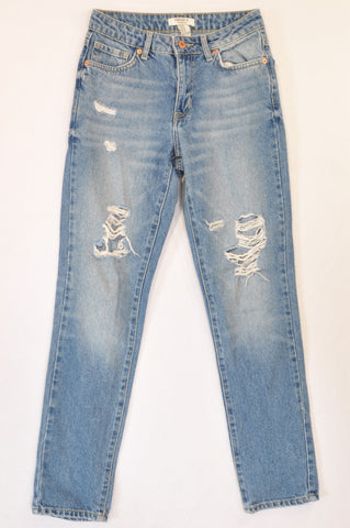 Forever 21 Medium Wash Distressed Jeans Women Size 28